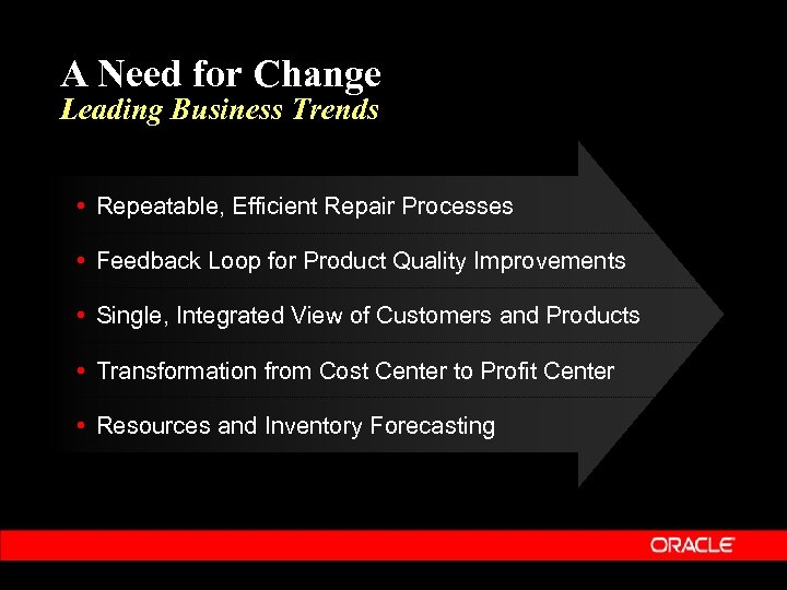 A Need for Change Leading Business Trends • Repeatable, Efficient Repair Processes • Feedback