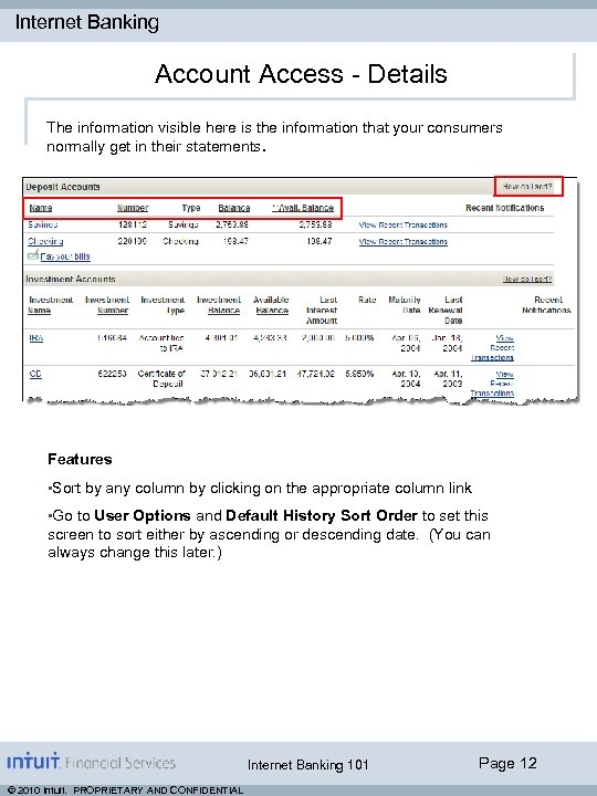 Internet Banking Account Access - Details The information visible here is the information that
