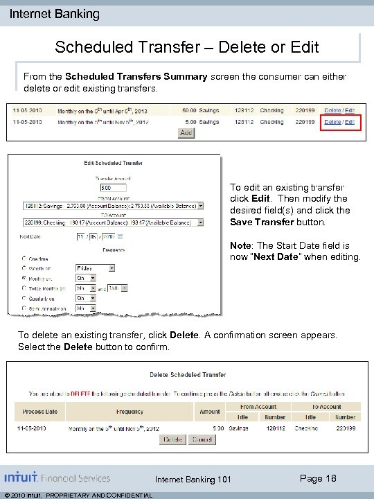 Internet Banking Scheduled Transfer – Delete or Edit From the Scheduled Transfers Summary screen