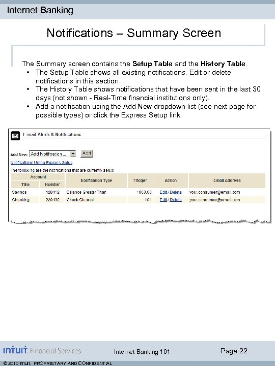 Internet Banking Notifications – Summary Screen The Summary screen contains the Setup Table and