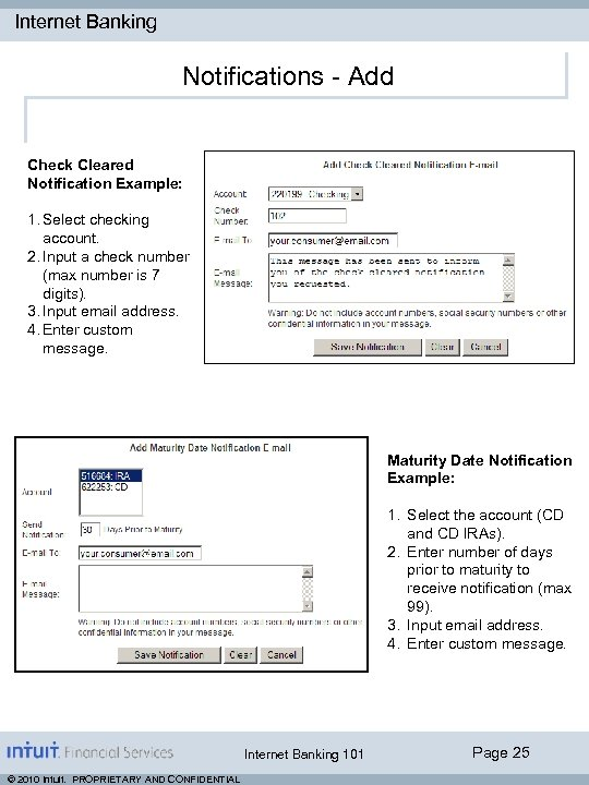 Internet Banking Notifications - Add Check Cleared Notification Example: 1. Select checking account. 2.