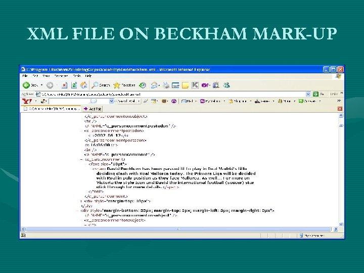 XML FILE ON BECKHAM MARK-UP