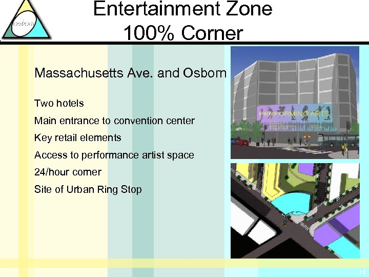 Entertainment Zone 100% Corner Massachusetts Ave. and Osborn St. Two hotels Main entrance to