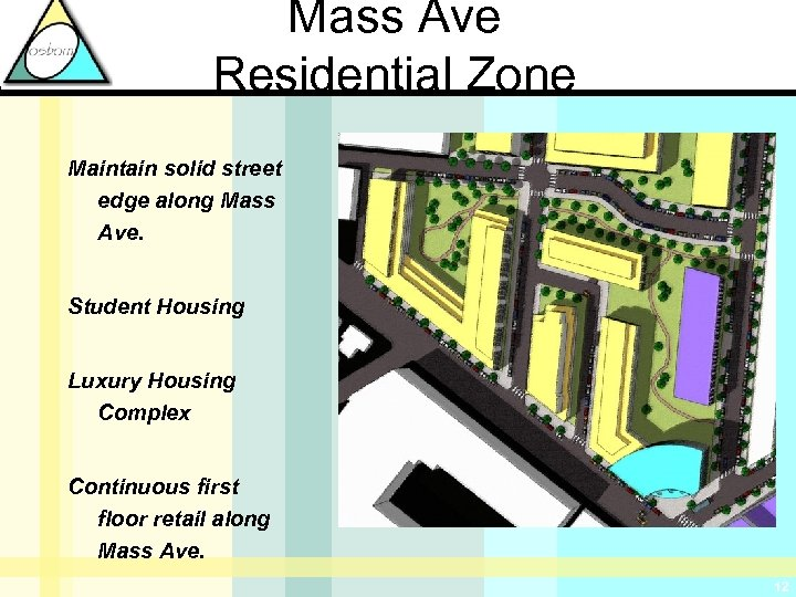 Mass Ave Residential Zone Maintain solid street edge along Mass Ave. Student Housing Luxury