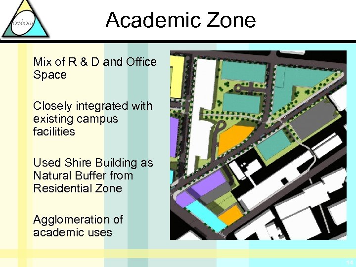 Academic Zone Mix of R & D and Office Space Closely integrated with existing