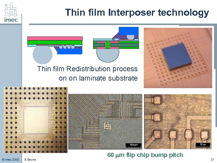 Thin film Interposer technology Thin film Redistribution process on on laminate substrate © imec
