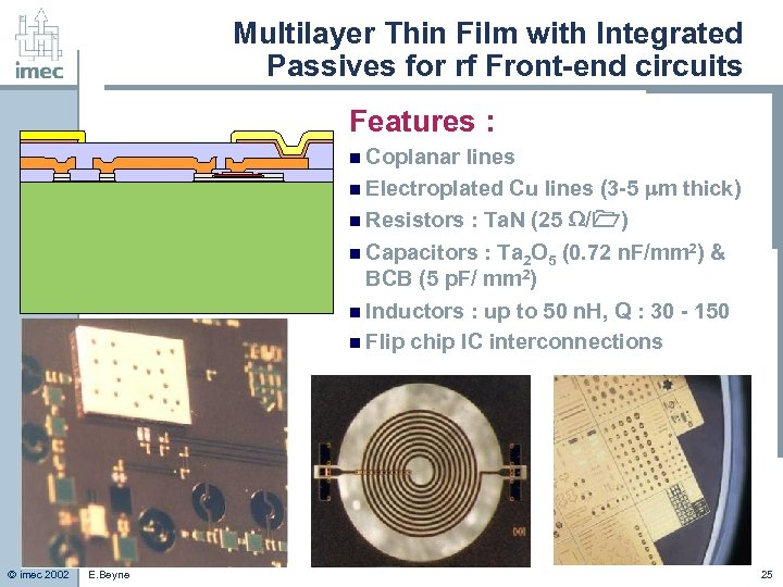 Multilayer Thin Film with Integrated Passives for rf Front-end circuits Features : n Coplanar