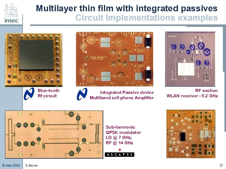 Multilayer thin film with integrated passives Circuit implementations examples Blue-tooth Rf circuit Integrated Passive