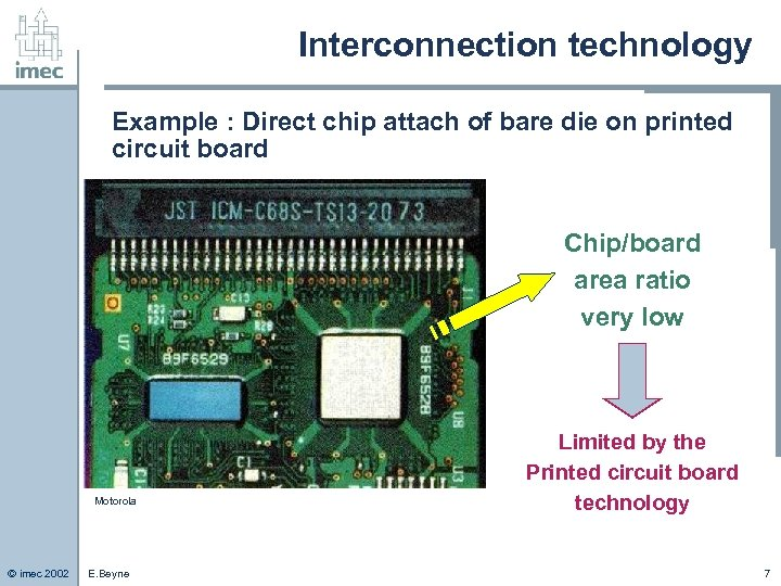 Interconnection technology Example : Direct chip attach of bare die on printed circuit board