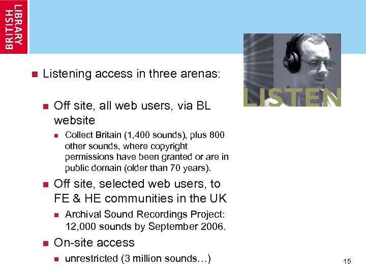 n Listening access in three arenas: n Off site, all web users, via BL