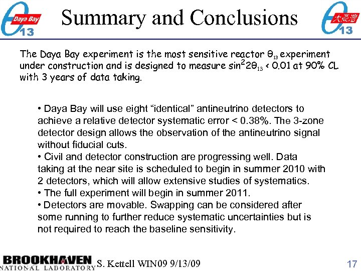 Summary and Conclusions The Daya Bay experiment is the most sensitive reactor θ 13