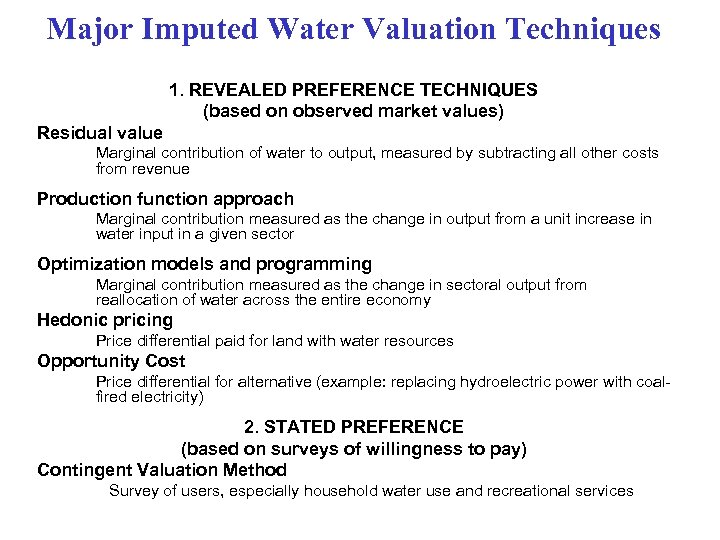 Major Imputed Water Valuation Techniques 1. REVEALED PREFERENCE TECHNIQUES (based on observed market values)