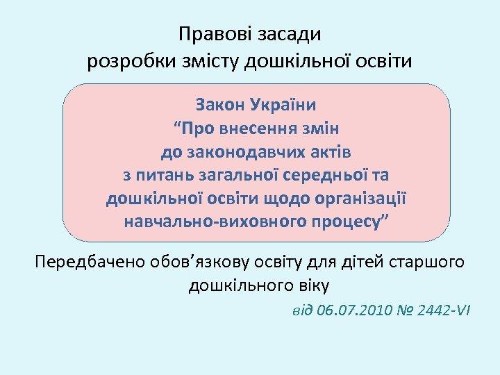 """Правові засади розробки змісту дошкільної освіти Закон України """"Про внесення змін до законодавчих актів"""