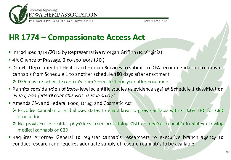 HR 1774 – Compassionate Access Act • Introduced 4/14/2015 by Representative Morgan Griffith (R,