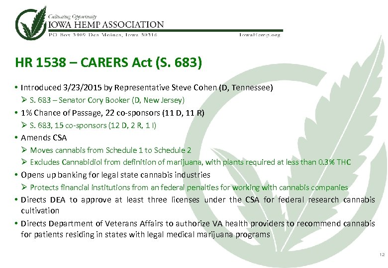 HR 1538 – CARERS Act (S. 683) • Introduced 3/23/2015 by Representative Steve Cohen