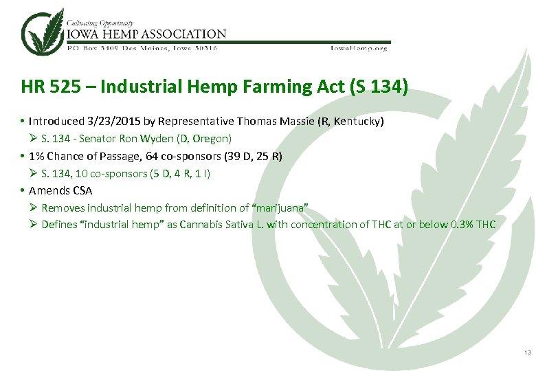 HR 525 – Industrial Hemp Farming Act (S 134) • Introduced 3/23/2015 by Representative