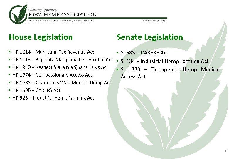 House Legislation • • Senate Legislation HR 1014 – Marijuana Tax Revenue Act •