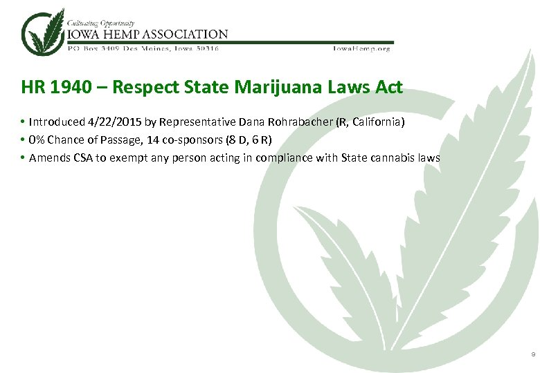 HR 1940 – Respect State Marijuana Laws Act • Introduced 4/22/2015 by Representative Dana