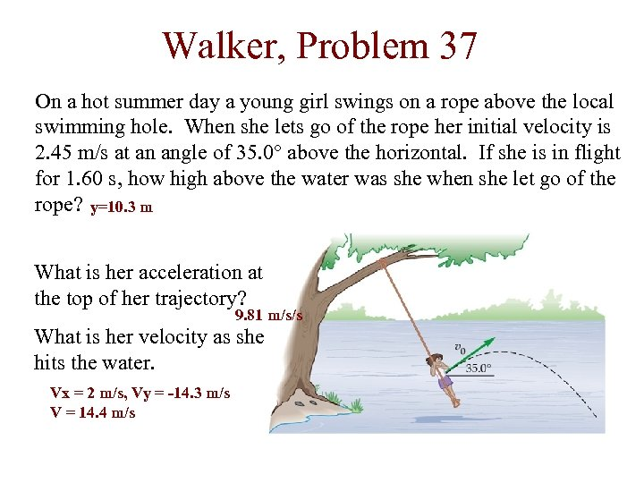 Walker, Problem 37 On a hot summer day a young girl swings on a