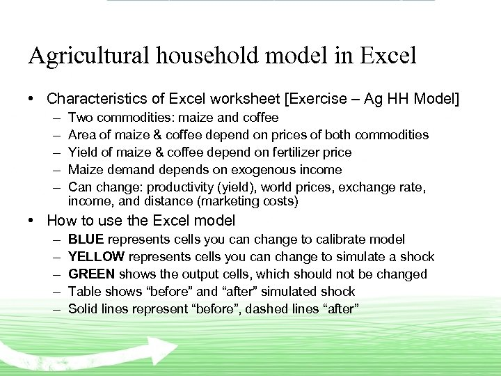 Agricultural household model in Excel • Characteristics of Excel worksheet [Exercise – Ag HH