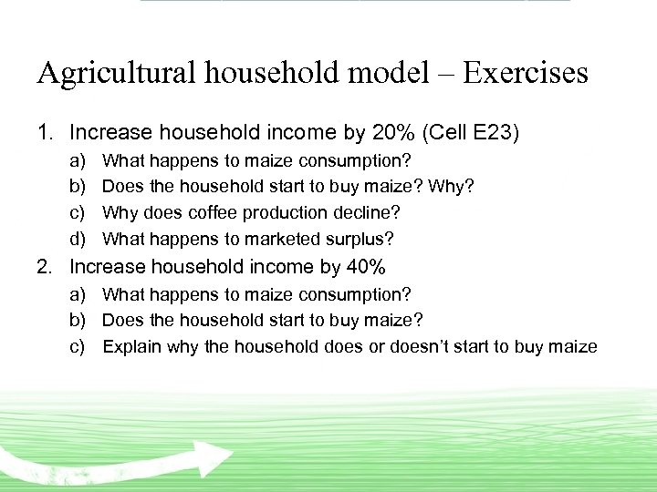 Agricultural household model – Exercises 1. Increase household income by 20% (Cell E 23)