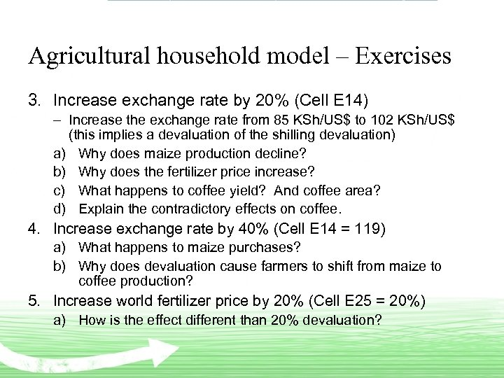 Agricultural household model – Exercises 3. Increase exchange rate by 20% (Cell E 14)