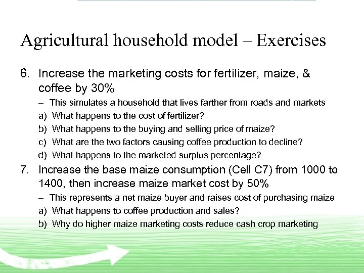 Agricultural household model – Exercises 6. Increase the marketing costs for fertilizer, maize, &
