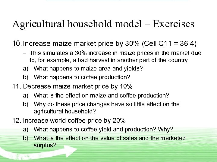 Agricultural household model – Exercises 10. Increase maize market price by 30% (Cell C