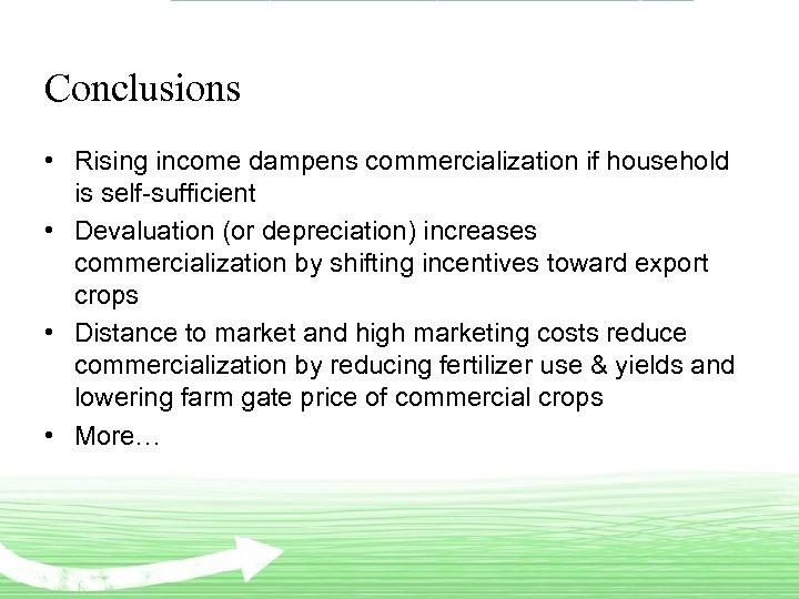 Conclusions • Rising income dampens commercialization if household is self-sufficient • Devaluation (or depreciation)