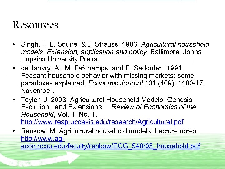 Resources • Singh, I. , L. Squire, & J. Strauss. 1986. Agricultural household models: