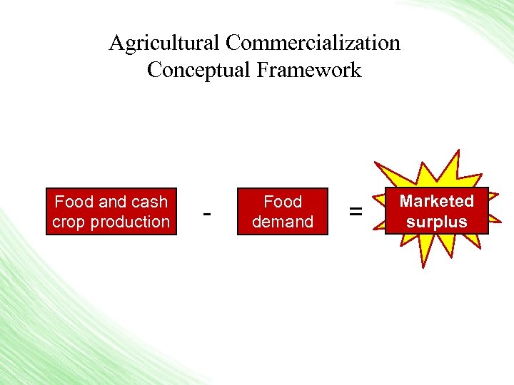 Agricultural Commercialization Conceptual Framework Food and cash crop production - Food demand = Marketed