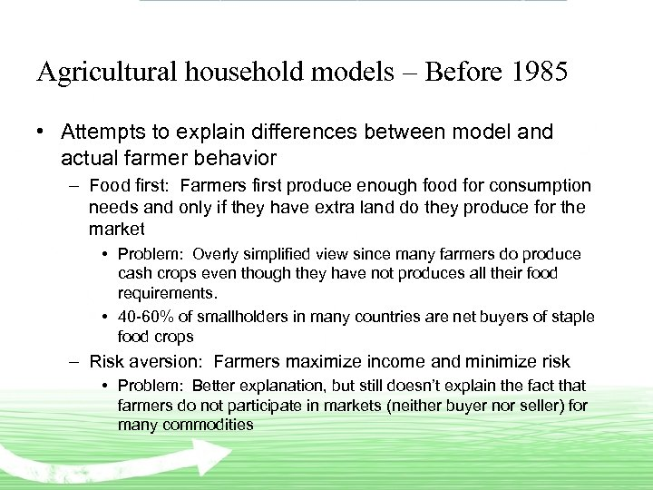 Agricultural household models – Before 1985 • Attempts to explain differences between model and