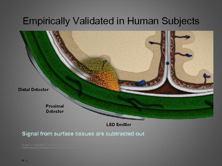 Empirically Validated in Human Subjects Distal Detector Proximal Detector LED Emitter Signal from surface