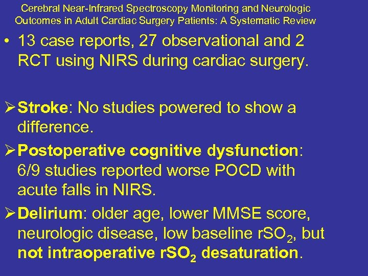 Cerebral Near-Infrared Spectroscopy Monitoring and Neurologic Outcomes in Adult Cardiac Surgery Patients: A Systematic