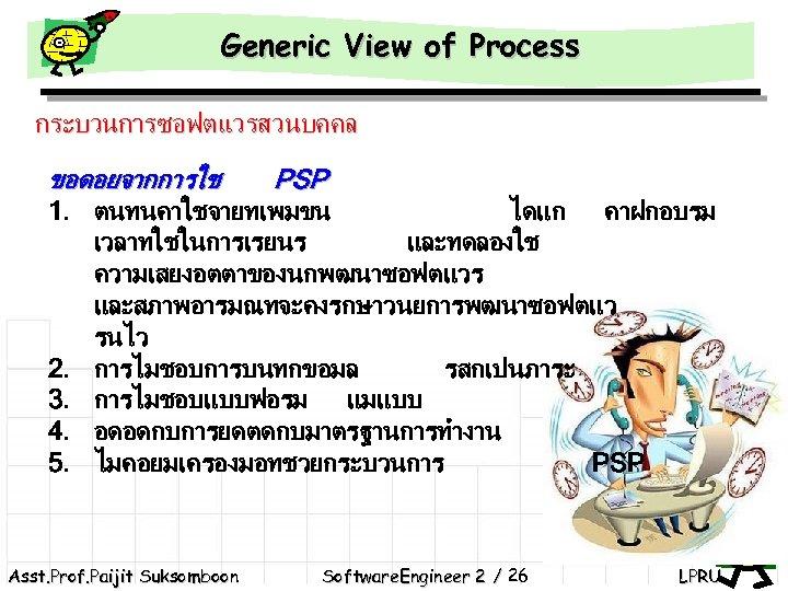 Generic View of Process กระบวนการซอฟตแวรสวนบคคล ขอดอยจากการใช PSP 1. ตนทนคาใชจายทเพมขน 2. 3. 4. 5. ไดแก