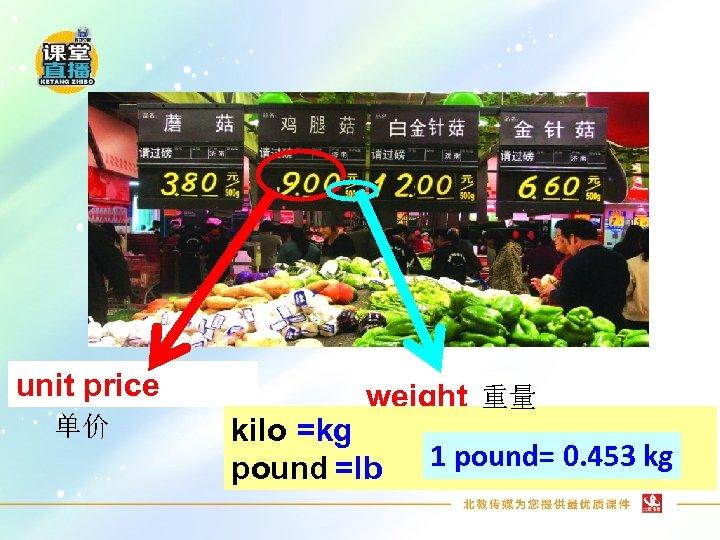 unit price 单价 weight 重量 kilo =kg pound =lb 1 pound= 0. 453 kg