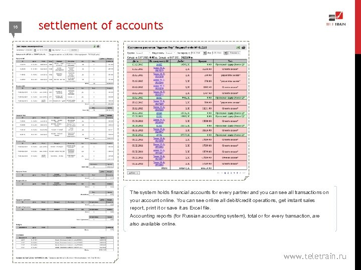 16 settlement of accounts The system holds financial accounts for every partner and you