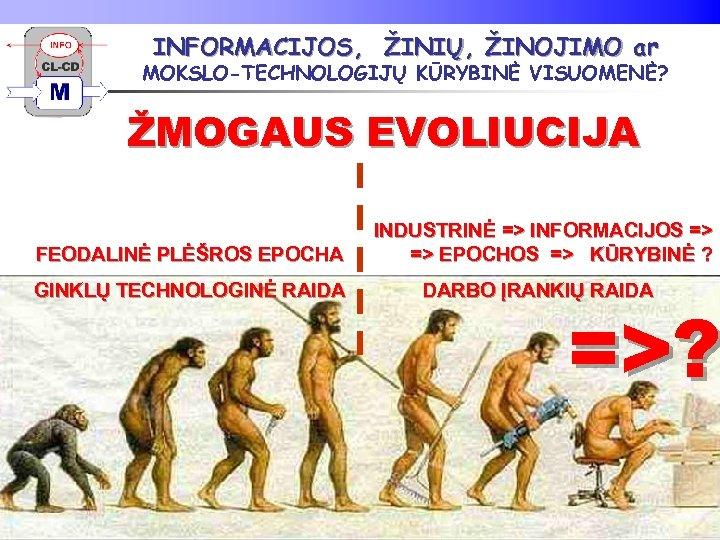 INFORMACIJOS, ŽINIŲ, ŽINOJIMO ar MOKSLO-TECHNOLOGIJŲ KŪRYBINĖ VISUOMENĖ? ŽMOGAUS EVOLIUCIJA FEODALINĖ PLĖŠROS EPOCHA INDUSTRINĖ =>