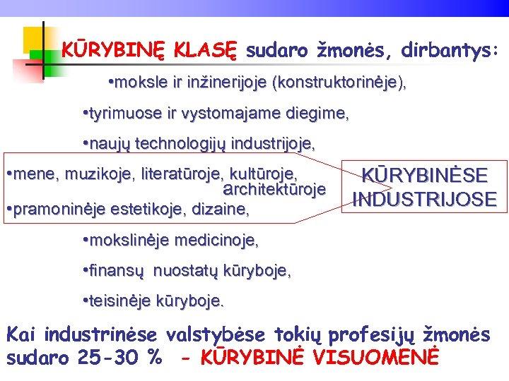 KŪRYBINĘ KLASĘ sudaro žmonės, dirbantys: • moksle ir inžinerijoje (konstruktorinėje), • tyrimuose ir vystomajame