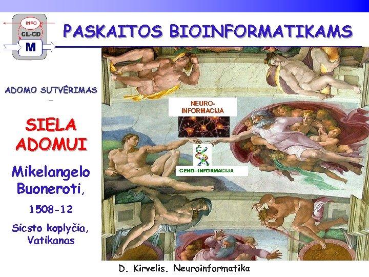PASKAITOS BIOINFORMATIKAMS ADOMO SUTVĖRIMAS – SIELA ADOMUI Mikelangelo Buoneroti, NEUROINFORMACIJA GENO--INFORMACIJA 1508 -12 Sicsto