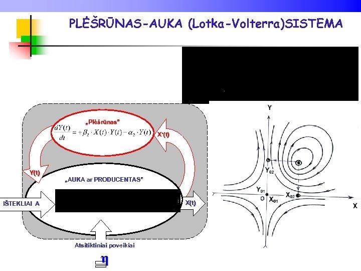 "PLĖŠRŪNAS-AUKA (Lotka-Volterra)SISTEMA ""Plėšrūnas"" X'(t) Y(t) ""AUKA ar PRODUCENTAS"" X(t) η IŠTEKLIAI A Atsitiktiniai poveikiai"