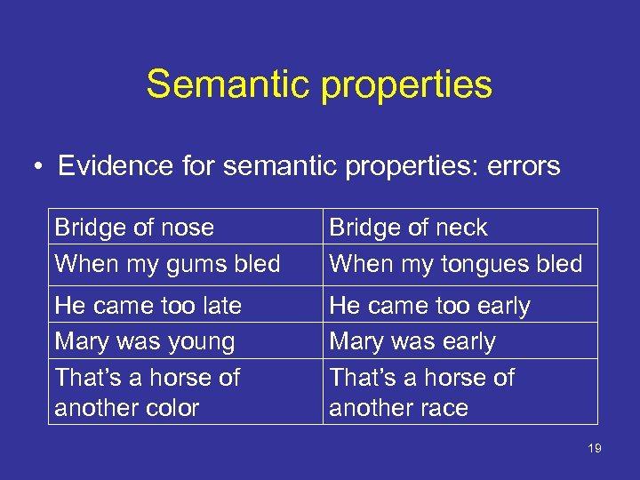 Semantic properties • Evidence for semantic properties: errors Bridge of nose When my gums