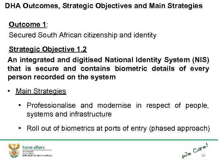 DHA Outcomes, Strategic Objectives and Main Strategies Outcome 1: Secured South African citizenship and