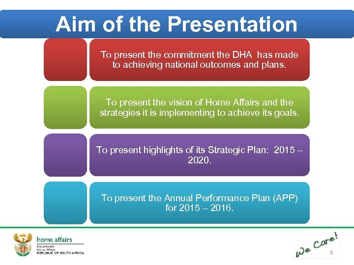 Aim of the Presentation To present the commitment the DHA has made to achieving