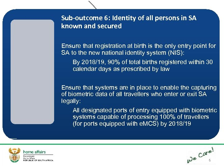 Sub-outcome 6: Identity of all persons in SA known and secured Ensure that registration