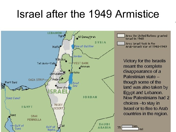 Israel after the 1949 Armistice Victory for the Israelis meant the complete disappearance of