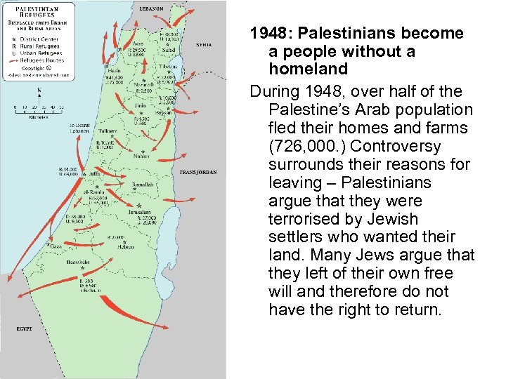 1948: Palestinians become a people without a homeland During 1948, over half of the