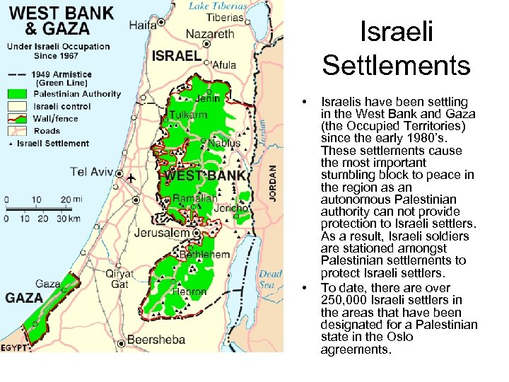Israeli Settlements • • Israelis have been settling in the West Bank and Gaza