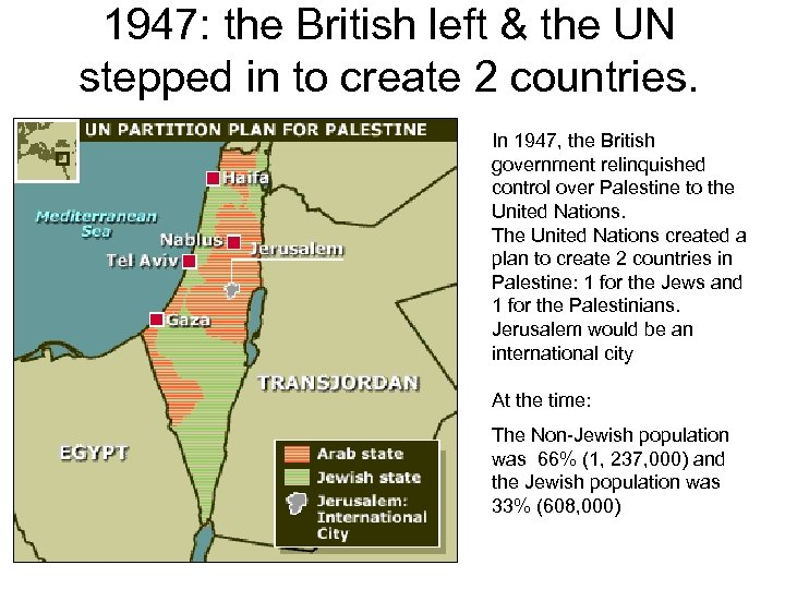 1947: the British left & the UN stepped in to create 2 countries. In