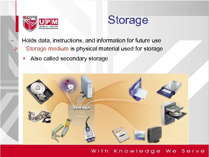 Storage – Holds data, instructions, and information for future use Ø Storage medium is